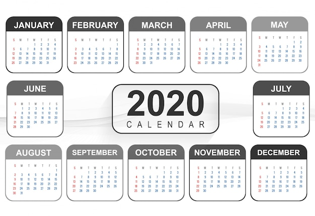 Plantilla de diseño de calendario de año nuevo 2020