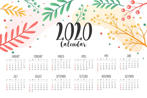 Plantilla de diseño de calendario de estilo de 2020 flores y hojas