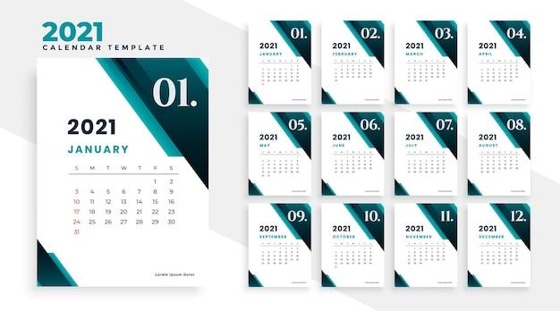 Plantilla de diseño de calendario de estilo empresarial moderno 2021