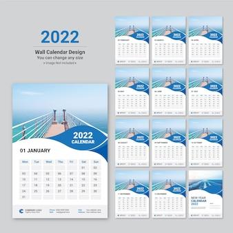 Plantilla de diseño de calendario de pared creativo colorido año nuevo 2022