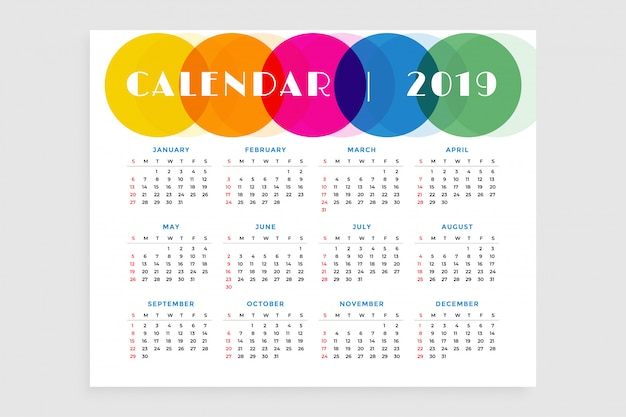 Plantilla de diseño de calendario resumen 2019