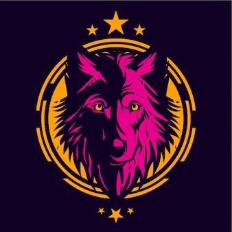 Plantilla de diseño de camisa de lobos de dibujo lineal