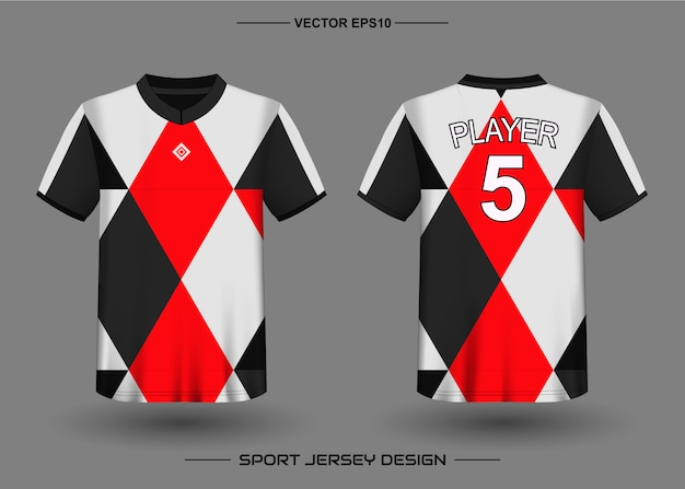 Plantilla de diseño de camiseta deportiva para uniformes de equipo