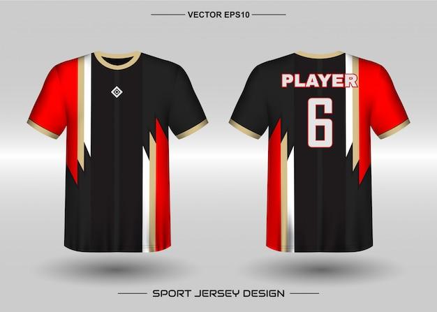 Plantilla de diseño de camiseta deportiva para uniformes de equipo.