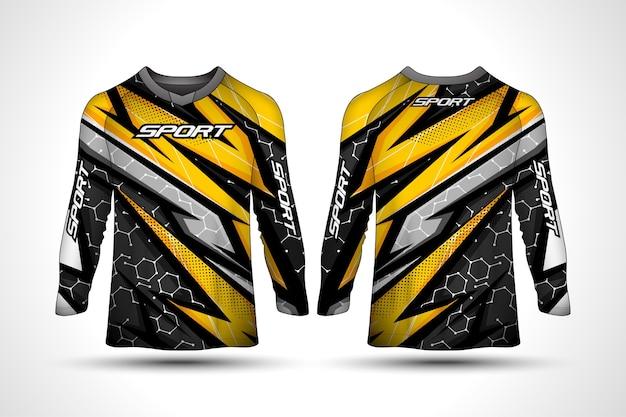 Plantilla de diseño de camiseta de manga larga, jersey de motocicleta deportiva de carreras