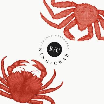 Plantilla de diseño de cangrejo. dibujado a mano ilustración de mariscos vector