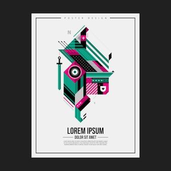Plantilla del diseño del cartel con la criatura geométrica abstracta. útil para la publicidad.