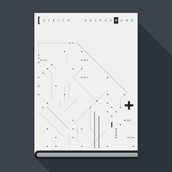 Plantilla del diseño del cartel / de la cubierta del libro de glitch con los elementos simples del diseño geométrico.