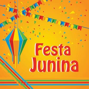 Plantilla de diseño de cartel de festival de festa junina creativo