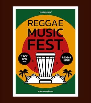Plantilla de diseño de cartel de festival de música reggae
