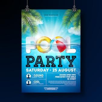 Plantilla de diseño de cartel de fiesta de piscina de verano con agua