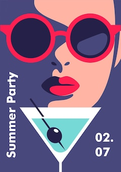 Plantilla de diseño de cartel de fiesta de verano estilo minimalista