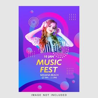 Plantilla de diseño de cartel de flyer de festival de música