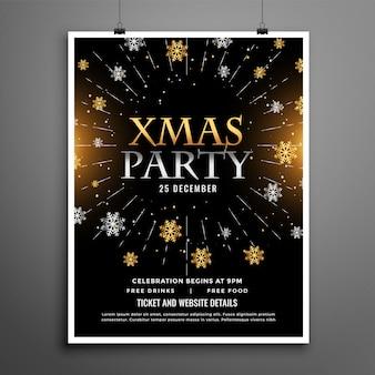 Plantilla de diseño de cartel de flyer negro de celebración de fiesta de navidad