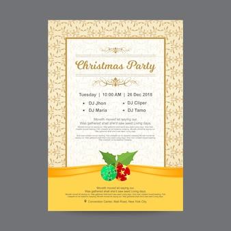 Plantilla de diseño de cartel moderno fiesta de navidad