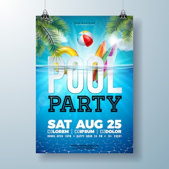 Plantilla de diseño de cartel o flyer de fiesta en la piscina de verano con hojas de palmera y pelota de playa