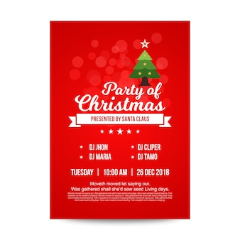 Plantilla de diseño de cartel rojo fiesta de navidad