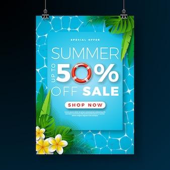 Plantilla de diseño de cartel de venta de verano con flores y hojas de palma en el fondo de la piscina