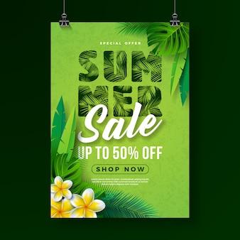 Plantilla de diseño de cartel de venta de verano con flores y hojas de palmeras exóticas