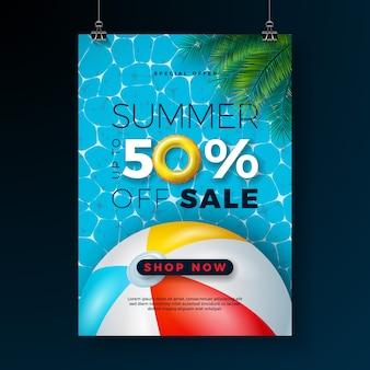 Plantilla de diseño de cartel de venta de verano con flotador y pelota de playa