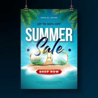 Plantilla de diseño de cartel de venta de verano con hojas de palmera exóticas y gafas de sol