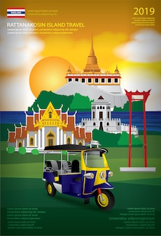 Plantilla de diseño de cartel de viaje de bangkok de tailandia