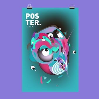 Plantilla de diseño de carteles y portadas de personajes