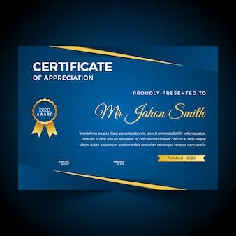 Plantilla de diseño de certificado abstracto premium