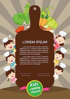 Plantilla de diseño de certificado de clase de cocina para niños. pequeño cocinero lindo que cocina a hombres de la comida