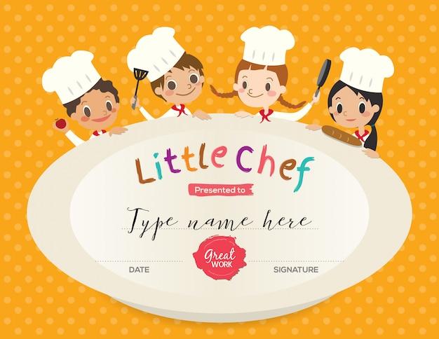 Plantilla de diseño de certificado de clase de cocina de niños