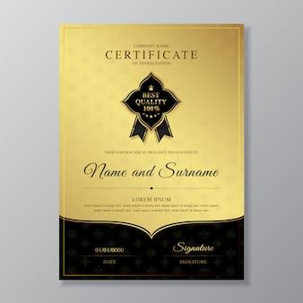 Plantilla de diseño de certificado y diploma de oro y negro