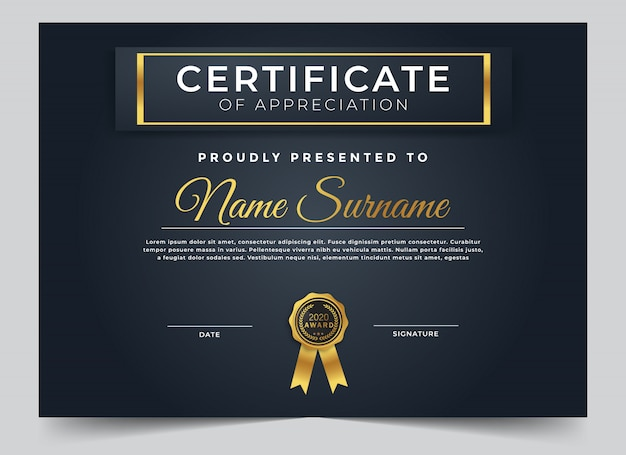 Plantilla de diseño de certificado multipropósito premium