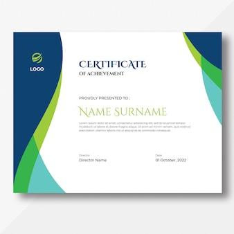 Plantilla de diseño de certificado de ondas azules y verdes de color abstracto