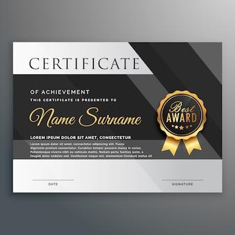 Plantilla de diseño de certificado de oro y negro premium