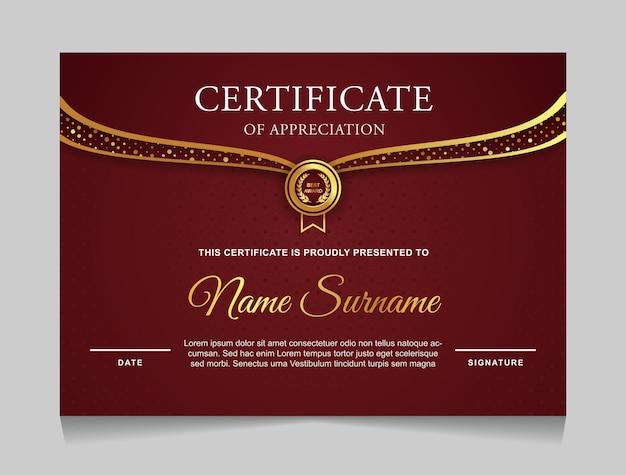 Plantilla de diseño de certificado rojo y dorado moderno
