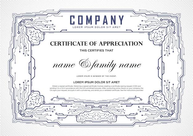 Plantilla de diseño de certificado. ti y tecnología.