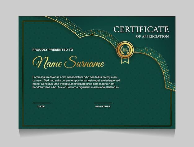 Plantilla de diseño de certificado verde y dorado moderno