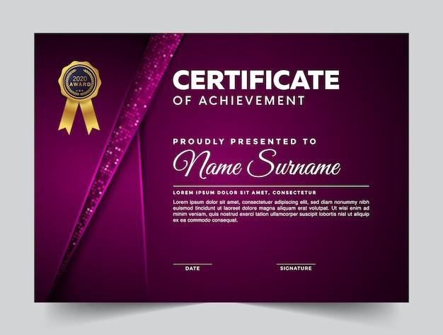 Plantilla de diseño de certificados con formas modernas