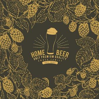 Plantilla de diseño de la cerveza hop. fondo de la cerveza de la vendimia.