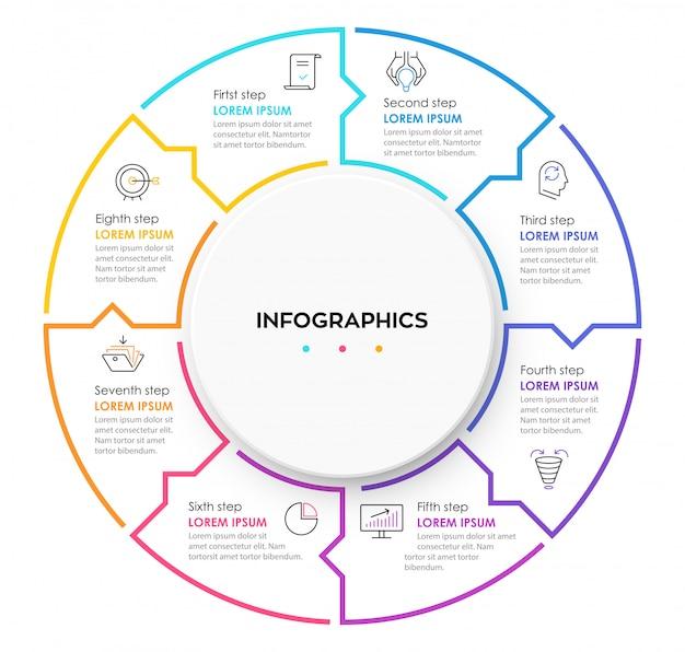 Plantilla de diseño de círculo para infografías con 8 opciones o pasos.