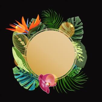 Plantilla de diseño de círculo de plantas tropicales.
