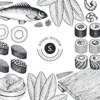 Plantilla de diseño de cocina japonesa. fondo de comida sian de estilo retro.