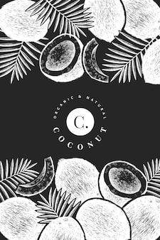 Plantilla de diseño de coco con hojas de palma. mano dibuja la ilustración de alimentos vector en pizarra.