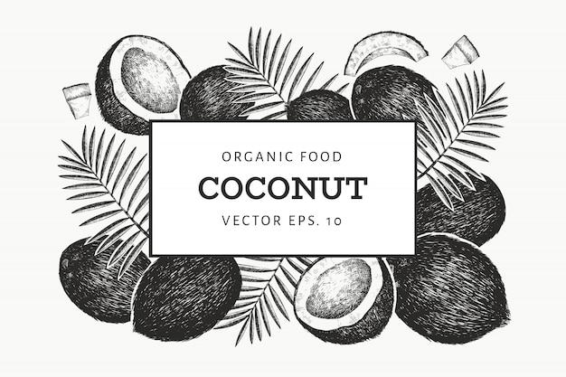 Plantilla de diseño de coco con hojas de palma.