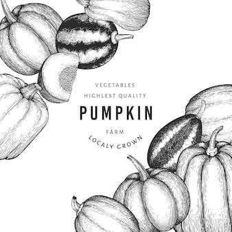 Plantilla de diseño de color calabaza. vector ilustraciones dibujadas a mano. telón de fondo de acción de gracias en estilo retro con cosecha de calabaza. fondo de otoño.