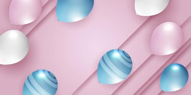Plantilla de diseño de concepto de confeti de globos blancos rosados azules vacaciones fondo de feliz día celebración v ...