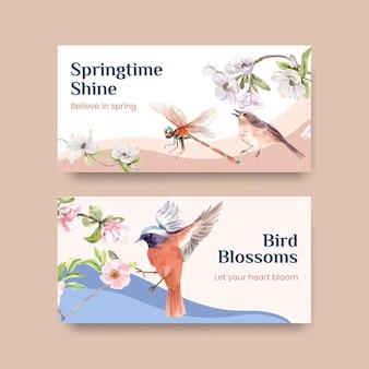 Plantilla con diseño de concepto de primavera y pájaro para redes sociales e ilustración de acuarela comunitaria