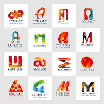 Plantilla de diseño de conjunto de logotipo de carta con logotipo abstracto