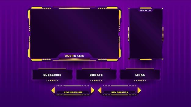 Plantilla de diseño de conjunto de panel de juego púrpura