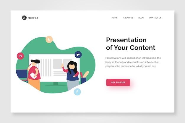 Plantilla de diseño de contenido de presentación de página de inicio